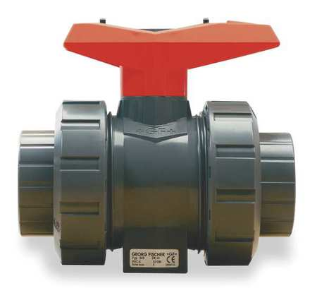 "1-1/4"" FNPT Polypropylene Ball Valve Inline True Union"