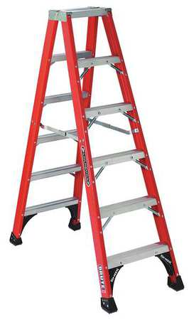 6' Fiberglass 375 lb. Twin Stepladder,  Type IAA