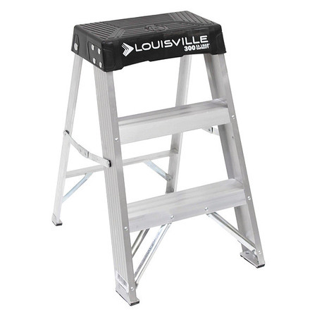 Step Stool, 24 In H, 300 lb., Aluminum