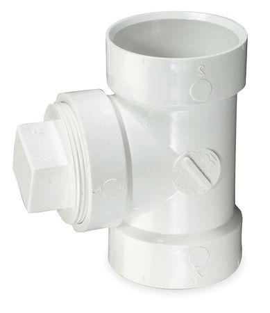 "2"" Hub x Hub x FNPT PVC DWV Cleanout Tee with Plug"