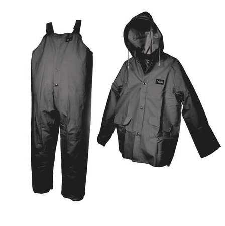 3 Pc. Rainsuit w/Detach Hood, Black, XL