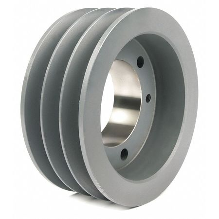 "1/2"" - 2-15/16"" Bushed Bore 3 Groove V-Belt Pulley 7.9"" OD"