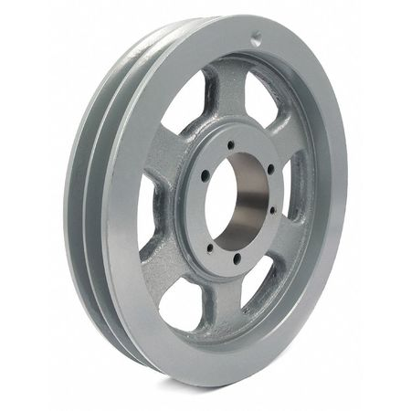 "1/2"" - 2-15/16"" Bushed Bore 2 Groove V-Belt Pulley 16.4"" OD"