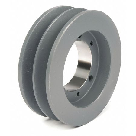"1/2"" - 1-5/8"" Bushed Bore 2 Groove V-Belt Pulley 5.3"" OD"