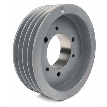 "1/2"" - 2-15/16"" Bushed Bore 4 Groove V-Belt Pulley 6.6"" OD"