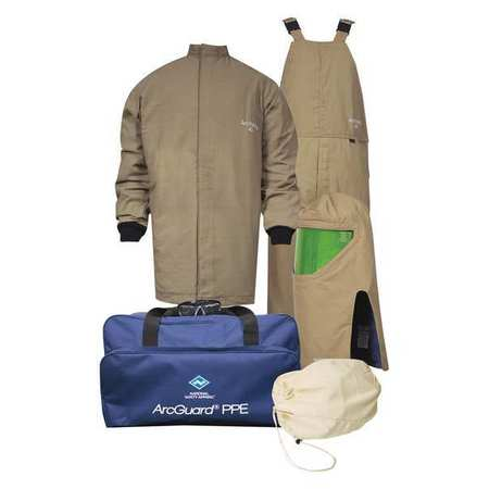 Flame-Resist Coat/Overall Kit, Kha, L, HRC4