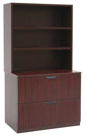 Regency Open Shelves Hutch W Lateral File Cabinet Series Legacy Mahogany Lplfh3665mh Zoro
