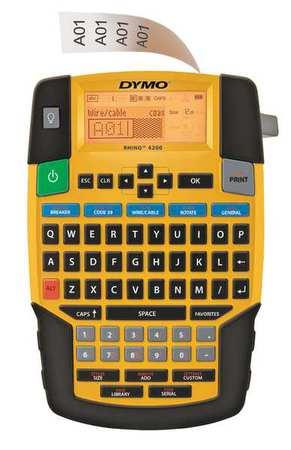 "Label Printer,  Backlit LCD,  Tape Width 1/4,  3/8,  1/2,  3/4"",  Rhino 4200"