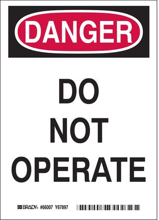 Danger Sign, 5 x 3-1/2In, R and BK/WHT, ENG