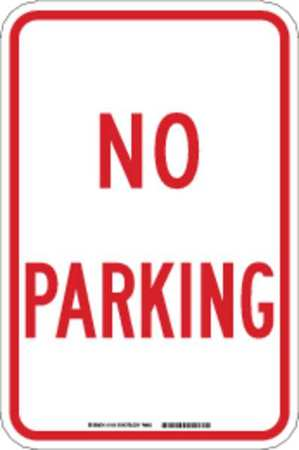 Parking Sign, 18 x 12In, R/WHT, No PRKG, SYM