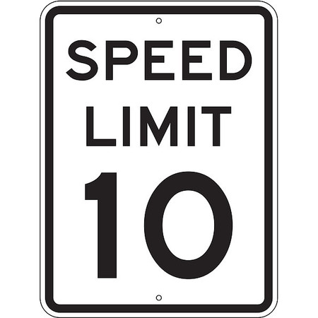 Traffic Sign, 24 x 18In, BK/WHT, SP LIM 10