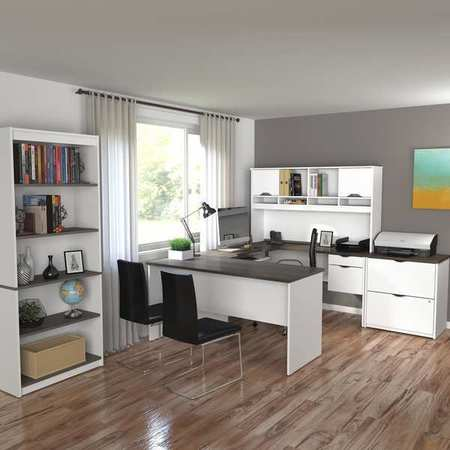 innova u shaped desk white antigua 92851 52. Black Bedroom Furniture Sets. Home Design Ideas