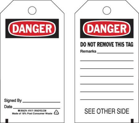 Danger Tag, 5-3/4 x 3 In, OSHA, 3/8 In, PK25