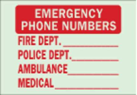 Emergency Sign, 10 x 14In, R/GRN, ENG, Text