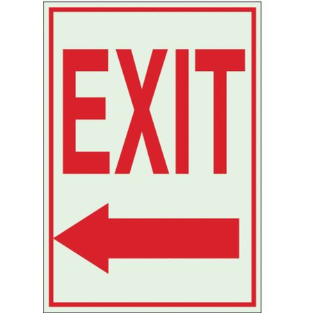 Exit Sign, 14 x 10In, R/WHT, Exit, ENG, SURF