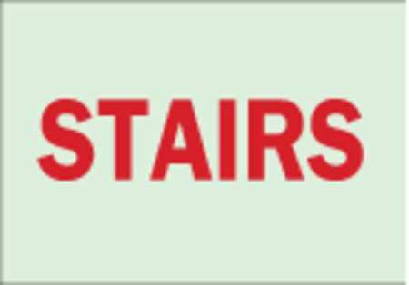 Notice Sign, 10 x 14In, R/GRN, Stairs, ENG