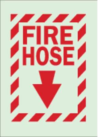 Fire Hose Sign, 14 x 10In, R/GRN, FH, ENG