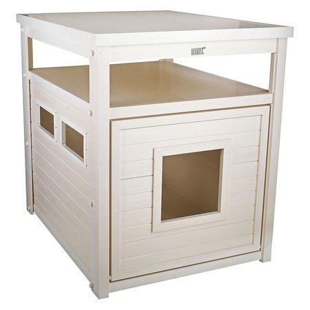 Cat Litter Box, End Table, Jumbo, White