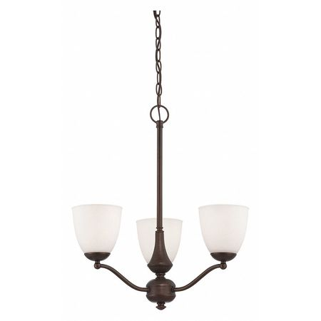 Patton 3 Light Chandelier Arms Up Frosted Gl Prairie Br