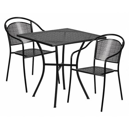 flash furniture black patio table set 28sq co 28sq 03chr2 bk gg rh zoro com black patio table and chairs sets black patio table glass top