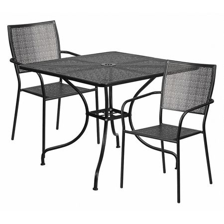 flash furniture black patio table set 35 5sq co 35sq 02chr2 bk gg rh zoro com black patio table canada black patio table and chairs sets
