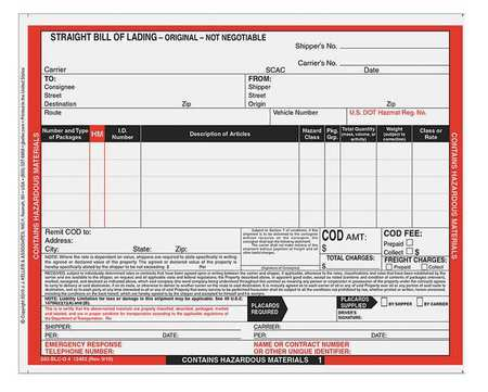 Jj Keller Hazmat Bill Of Lading Forms, Hazmat, Pk500 12464 | Zoro.Com