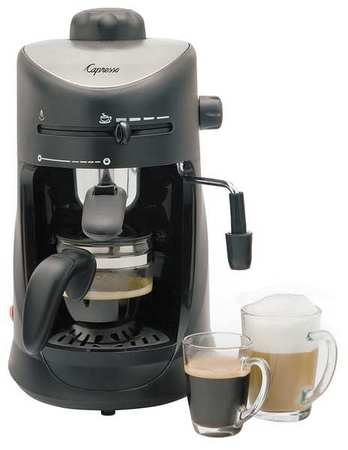 Single Espresso Machine,  10 oz.,  Black/Silver