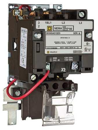 Square D Magnetic Motor Starter, NEMA, 120V, 9A, 3P 8536SAO12V02ES ...