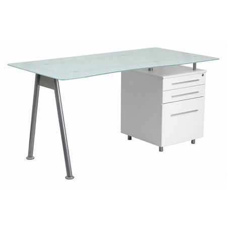 Drawer Desk Frosted Glass Top