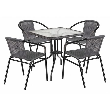 880e7a188e FLASH FURNITURE TLH-073SQ-037GY4-GG Metal Table,Sqr w/Rattan Chairs ...