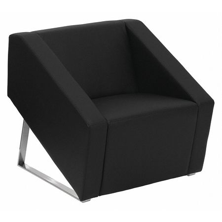 Leather Guest Chair, Triangular Base, Blk