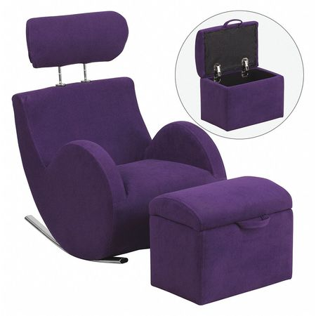 Fabric Rocking Chair W/Storage Ottoman, Purple