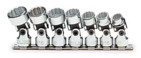 Socket Set, SAE, 3/8 in. Dr, 7 pc