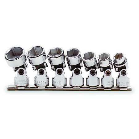 Socket Set, SAE, 3/8 in. Dr, 7 pc