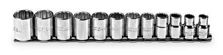 Socket Set, Metric, 3/8 in. Dr, 12 pc
