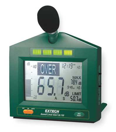 Sound Level Monitor/Alarm, 30 To 130 dB