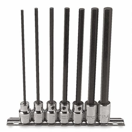 Socket Bit Set, 3/8 in. Dr, 7 Piece, Hex