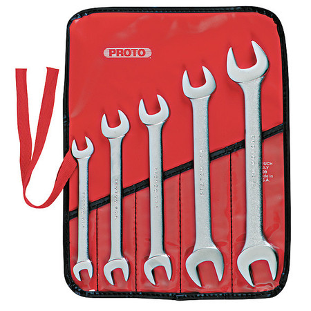 Open End Wrench Set, 15 Deg, 3/8-7/8, 5 Pc