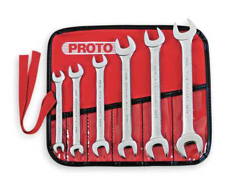 Open End Wrench Set, 15 Deg, 8-19mm, 6 Pc