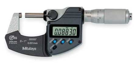 Mitutoyo 293-344-30,  Electronic Digital Micrometer,  Ratchet Thimble,  SPC Output No,  Flat Anvil,  Flat Spindle,  Lock Nut Type -,  Features IP65 Waterproof,  Pushbutton Controls,  Preset Capability,  Inch/Millimeter Conversion of Displayed Reading,  Vernier Scale on Thimble,  Includes Battery,  Key Spanner,  Fitted Carrying Case
