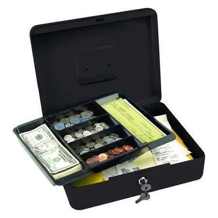 Cash Box, Black, 9-1/2x11-13/16x3-9/16