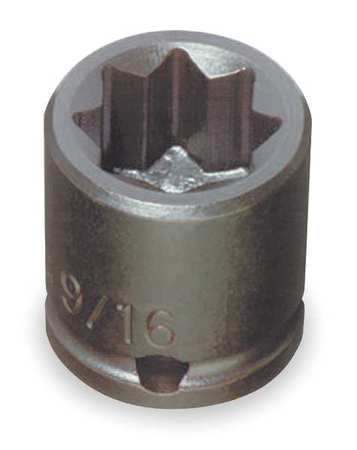 Impact Socket, 3/8 In Dr, 7/16 In, 8 pt