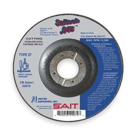 Abrasive Cut-Off Wheel, T27, 5 in., 7/8 in.