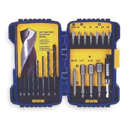 Drill and Driver Bit Set, 20 Pcs., 1/4""