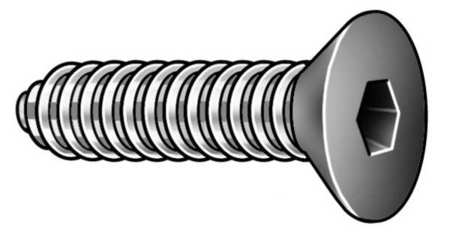 "1/4""-28 x 3/4"" Black Oxide Alloy Steel Flat Socket Head Cap Screw,  100 pk."