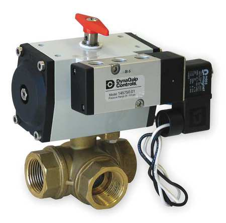 "1/4"" FNPT Brass Pneumatic Ball Valve 3-Way"