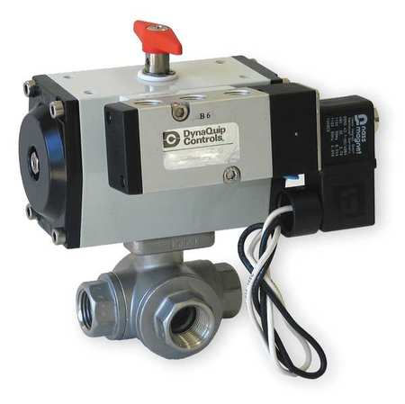 "3/4"" FNPT Stainless Steel Pneumatic Ball Valve 3-Way"