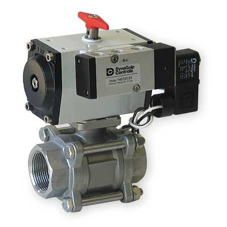 "3/4"" FNPT Stainless Steel Pneumatic Ball Valve Inline"