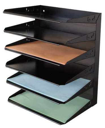 Desk Organizer, Letter, 6 Compartment, Blk