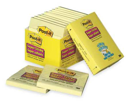 Super Sticky Notes, 4x4 In., Yellow, PK12